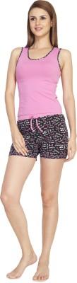 SOIE Women's Printed Pink Top & Shorts Set
