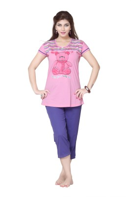 Sweet Night Women's Printed Pink Top & Capri Set