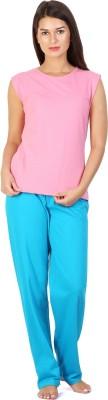 Click Hit Softle Top Payjama set Women's Solid Pink, Light Blue Top & Pyjama Set