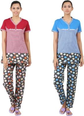 INFORMAL WEAR Women's Striped Blue, Red Top & Pyjama Set