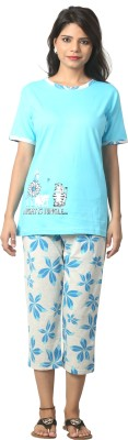 Elite Women's Printed Light Blue Top & Capri Set