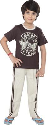 Purple Boy's Graphic Print Brown Top & Pyjama Set