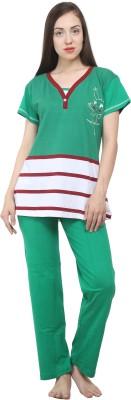Hautewagon Women's Printed Green Top & Pyjama Set