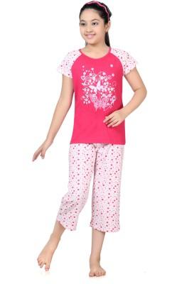 Kombee Girl's Printed Pink, White Top & Capri Set