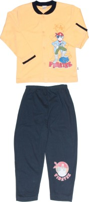 Babiano Boy's Graphic Print Yellow, Blue Top & Pyjama Set