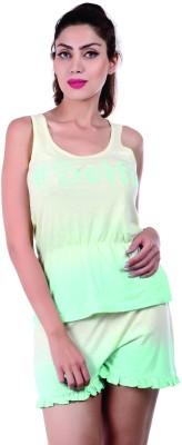 Slumber Jill Women's Graphic Print Yellow, Light Green Top & Shorts Set