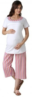 Morph Maternity Women's Solid White Top & Pyjama Set