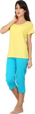 Click Hit Softle Top Payjama set Women's Solid Yellow, Light Blue T-shirt & Three-forth Set