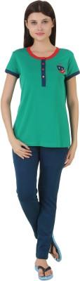 Fragrance Women's Solid Green Top & Pyjama Set