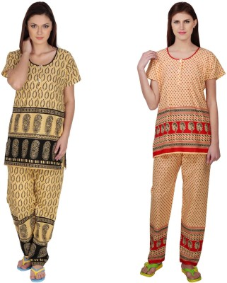 Simrit Women's Printed Black, Red Top & Pyjama Set