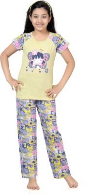 Kombee Girl's Printed Blue, Yellow Top & Pyjama Set