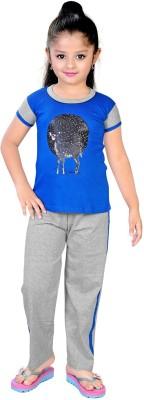 13 in Girl's Printed Dark Blue Top & Pyjama Set