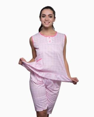 Kunchals Women's Self Design Pink Top & Capri Set