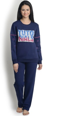 La Zoya Women's Solid Blue Top & Pyjama Set