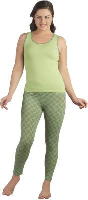 Soie Women's Printed Dark Green Top & Pyjama Set at flipkart