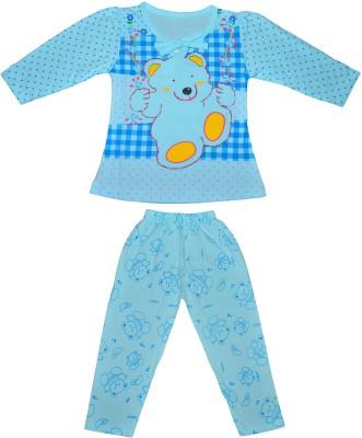 Smilee Girl's Printed Blue Top & Pyjama Set