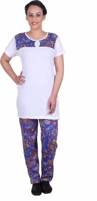 Di Tutti Women's Printed White Top & Pyjama Set
