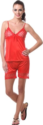 Affair Women's Solid Red Top & Shorts Set