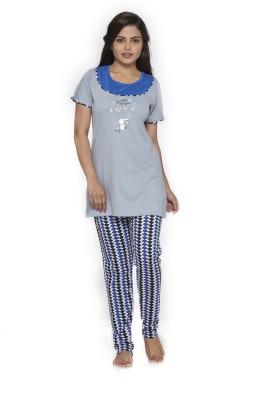 Melodie Women's Printed Grey, Blue Top & Pyjama Set