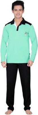 Inter Creation Men,s Solid Green Top & Pyjama Set