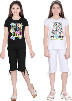 Sinimini Girl's Printed Multicolor Top & Capri Set