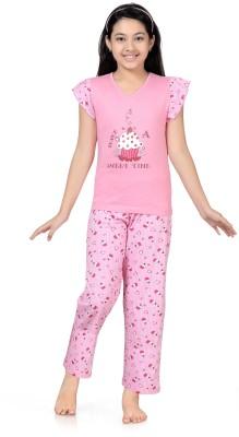 Kombee Girl's Printed Pink Top & Pyjama Set