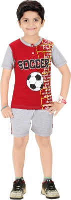 Red Ring Boy's Printed Red Top & Shorts Set