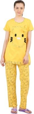 Informal Wear Women's Printed Yellow Top & Pyjama Set