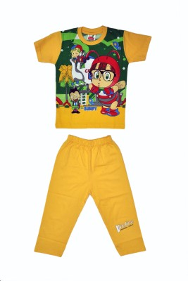 Belle Girl Boy's Printed Yellow Top & Pyjama Set