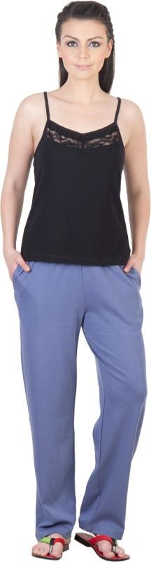 Serenity Women's Solid Black, Light Blue Top & Pyjama Set