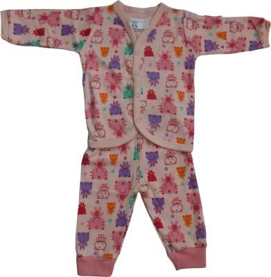 NammaBaby Baby Girl's Printed Pink Top & Pyjama Set
