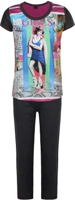 Jazzup Girl's Printed Multicolor Top & Pyjama Set