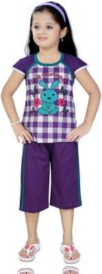 Mint Girl,s Printed Purple Top & Pyjama Set
