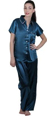 Vixenwrap Women's Solid Blue Top & Pyjama Set