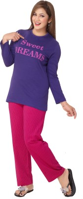 Div Women's Printed Purple Top & Pyjama Set