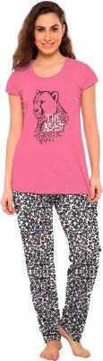 So Sweety Women's Printed Pink Top & Pyjama Set