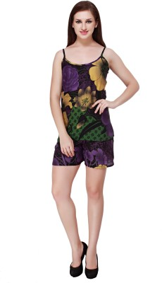 Cottinfab Women's Printed Purple Top & Shorts Set