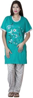 Star Gallery Women's Floral Print Green Top & Pyjama Set