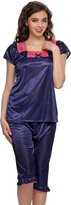 Clovia Women's Solid Blue Top & Capri Set