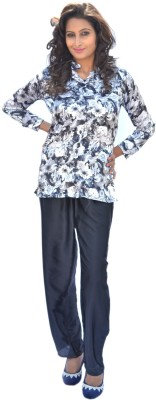 Miss-Me Women's Floral Print Black Top & Pyjama Set