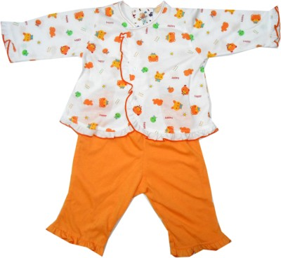 NammaBaby Baby Girl's Animal Print Orange Top & Pyjama Set