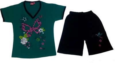 Tomato Girls Printed Green, Black Top & Shorts Set