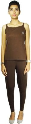 Bluedge Women's Solid Brown Top & Pyjama Set
