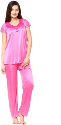 Loot Lo Creation Women's Solid Light Blue Top & Pyjama Set