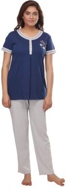 Fragrance Women's Solid Dark Blue Top & Pyjama Set