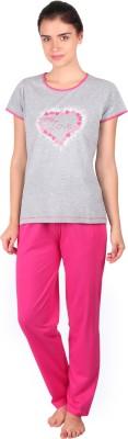 Lazy Dazy Women's Printed Grey, Pink Top & Pyjama Set