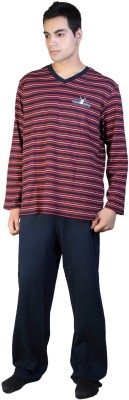 F FASHIONSTYLUS Men's Solid, Striped Red Top & Pyjama Set