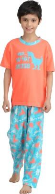Kanvin Boy's Printed Orange Top & Pyjama Set