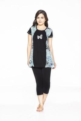Melodie Women's Printed Blue, Black Top & Pyjama Set