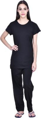 PRO Lapes Women's Solid Black Top & Pyjama Set